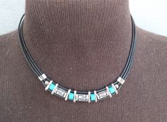 """Choker with Turquoise and Silver Color S Pattern Spacers Necklace, 16"""" Black Cord. Vintage Southwestern Style Jewelry Free Shipping Gift Box by GiftShopVintage on Etsy"""