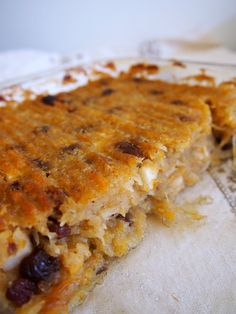 Baked breakfast casserole: A lightly sweetened AIP or Paleo-friendly baked 'oatmeal' without grains, gluten, eggs, or dairy. Makes a nice dessert too.