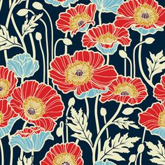 SAJD019 · Pristine Poppy · Midnight / Joel Dewberry Notting Hill