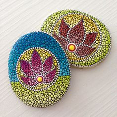 Dot Art Flower of Life Painted stone painted rock Fairy garden