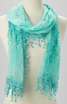 Green Mesh Crochet Tassel Scarf