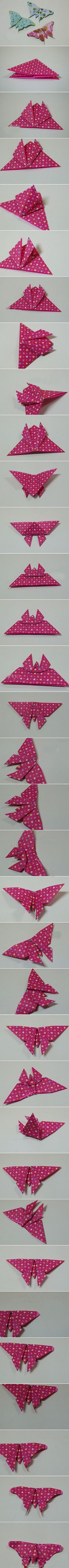 Handmade DIY origami butterfly tutorial - embellishment for cards - bjl