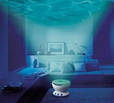 The Healing Theater Umine projects watery blue and green moving images on your ceiling as it plays back digitally recorded sounds like voice of dolphins, sound of bubbles, sound of waves and cry of seagulls as if you were on the island.