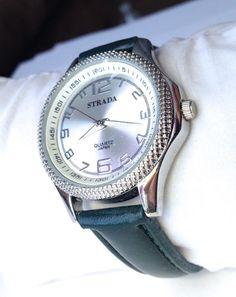 Women's Watch Japanese Quartz Silvertone dial / Forest Green strap 35MM #Strada #Fashion