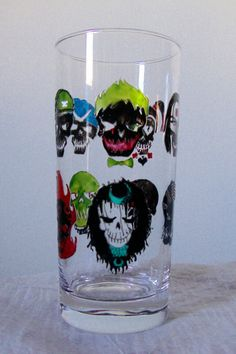 Fan Art Hand Painted Suicide Squad Character Skulls Stained Glass Drinking Cup Glassware 15.5 oz by BlowingOnDandelion on Etsy