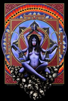 Kali - the Hindu god of death and destruction, also renewal and motherhood. She is sometimes depicted with ten arms, holding a sword, and  with clothes made of human hands. In one battle Kali went on a killing spree. To stop her the Lord Shiva (her husband) threw himself at her feet, she was so stunned that she stuck out her tongue. Many pictures of Kali depict her standing with one foot on Shiva's chest and her tongue sticking out. She is most often pictured as being blue or black in color.