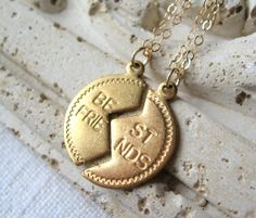 Best Friends Necklace, SET of Two Necklaces, 14K Gold by MySweetNomsa, $48.00