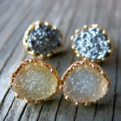 Druzy Earrings, Druzy Studs, Boho Earrings, Bohemian Earrings
