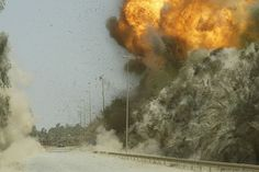 Controlled explosion of IED, US Army in Iraq