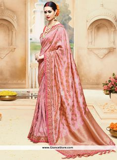 Demure Peach Embroidered Work Art Silk Designer Traditional Saree