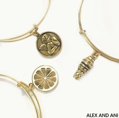 ALEX AND ANI CHARITY BY DESIGN Bangles. Zest of Life, Sweet Treats, and the Cherub Charm Bangles all benefit Children's Cancer.