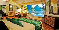 Rilassante veduta da una delle camere del Jade Mountain. Courtesy of Jade Mountain Saint Lucia