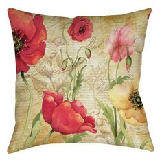 Large Poppy Heads Printed Throw Pillow