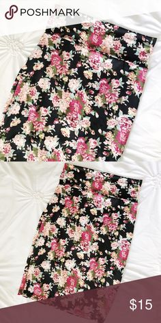 """Floral Pencil Skirt The is the PERFECT floral pencil skirt! Gorgeous floral print that so trendy right now on a black background! This is stretchy sort of material with foldable yoga band style waistline! So comfy and light for spring and summer!  Waist: 16"""" Flat Across Length: 27"""" Skirts Pencil"""
