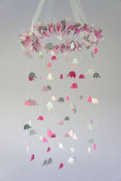 Pink Gray Girl Elephant Nursery Mobile- Crib Mobile, Baby Shower Gift, Nursery Decor. 63.00, via Etsy.