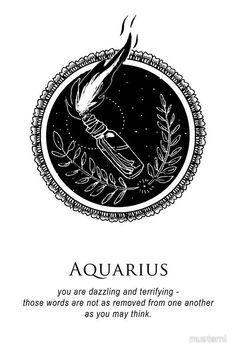 'Aquarius – Shitty Horoscopes Book XI: Illuminate' Canvas Print by musterni - cocktail Aquarius Symbol Tattoo, Taurus Constellation Tattoo, Aquarius And Cancer, Aquarius Sign, Aquarius Quotes, Age Of Aquarius, Aquarius Zodiac, Aquarius Season, Zodiac Art