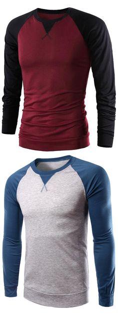 Color Splicing Long Raglan Sleeve T-Shirt