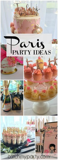 You have to see the delicious desserts at this Paris party! See more party ideas at CatchMyParty.com!