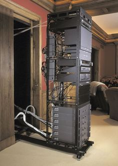 Roll-out server rack, useful if constantly rewiring or it's in a tight spot(with plenty of ventilation)-RR