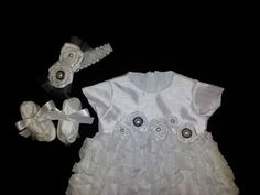 White blessing/christening gown with rosettes. Hairpiece and shoes. by dressedinlight on Etsy https://www.etsy.com/listing/179965357/white-blessingchristening-gown-with