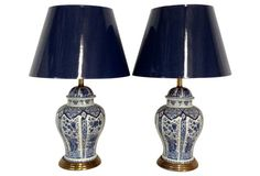 Blue & White Porcelain Lamps, S/2