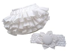 White Ruffle Baby Newborn Ruffle Bloomer Diaper Cover and Matching Fabric Flower Headband  for Photo Props by Bloomin' Bloomers