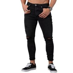 online shopping for Sibylla Sibylla Men's Fashion Ripped Skinny Biker Jeans Distressed Slim Fit Denim Pants from top store. See new offer for Sibylla Sibylla Men's Fashion Ripped Skinny Biker Jeans Distressed Slim Fit Denim Pants Skinny Jeans Casual, Ripped Jeans Men, Jeans Denim, Jeans Pants, Jean Joggers, Skinny Fit, Jeans For Men, Man Jeans, Trousers Mens