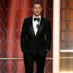 Brad Pitt wore a TOM FORD tuxedo to the 2017 Golden Globe Awards.