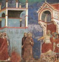 L'ordalia in Egitto: Francesco entra nel fuoco dinanzi al sultano