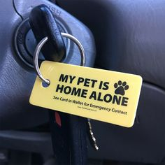 """""""My Pet Is Home Alone"""" Emergency Contact Tag"""