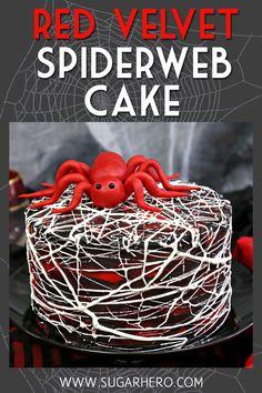 Red Velvet Marshmallow Spiderweb Cake—classic red velvet cake with black chocolate buttercream, covered with a web of marshmallow spiderwebs! | From SugarHero.com #sugarhero #redvelvet #halloween #halloweencake #spiderwebcake