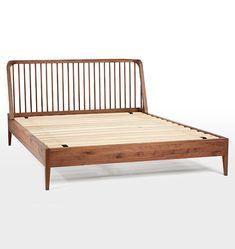 Perkins Spindle Bed (for master) - Rejuvenation Bedroom Furniture, Home Furniture, Bedroom Decor, Bedding Decor, Furniture Ideas, Master Bedroom, Mid Century Bed, Spindle Bed, Natural Bedding