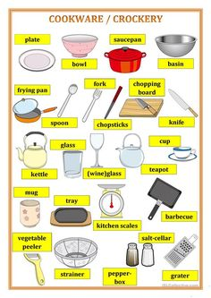 Cookware pictionary - English ESL Worksheets for distance learning and physical classrooms Learning English For Kids, English Worksheets For Kids, English Lessons For Kids, Kids English, English Language Learning, Teaching English, English English, French Lessons, Spanish Lessons