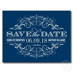 Navy Blue and White Wedding Save the Dates | Vintage Swirl and Flourish Postcards #navyblue #savethedate