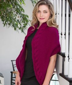 Reversible Cable Wrap Free Knitting Pattern from Red Heart Yarns