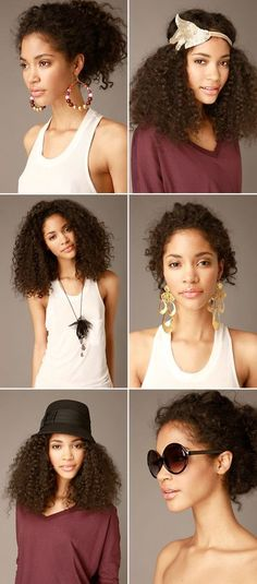 Different curly hairstyles + accessories = LOVE!! #hair #makeup #curls #curly #natural
