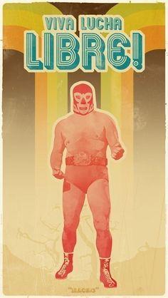 Viva Lucha Libre retro-modern poster print via Etsy