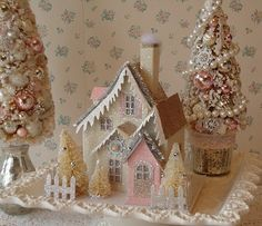 PUTZ Cottage w Bottle Brush Trees  Shabby Pink n by IllusiveSwan