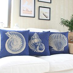 Set of 3 Nautical Sea Side Theme Cotton/Linen Decorative Pillow Cover - USD $ 44.99