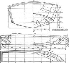 Теоретический чертеж мотолодки на подводных крыльях