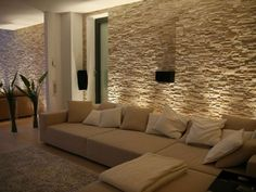 Wohnzimmer mit Steinwand mit Beleuchtung: Living room with stone wall with lighting: Living Room Tv, Interior Design Living Room, Home And Living, Living Room Designs, Stone Wall Living Room, Living Area, Living Spaces, House Styles, Furniture