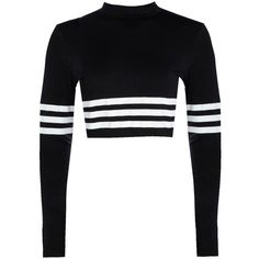 Boohoo Bella High Neck Long Sleeve Stripe Crop Top ($20) ❤ liked on Polyvore featuring tops, striped off the shoulder top, striped crop top, white off shoulder top, cami crop top and jersey crop top