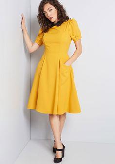 Retro Etiquette Collared Dress