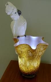 Cockatoo Murano Glass Lamp