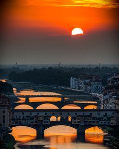 Crimson sky, Florence,Tuscany, Italy