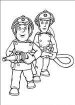 kleurplaat Brandweerman Sam
