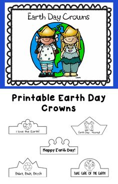 Cute printable crowns to celebrate Earth Day! Perfect for kindergarten or preschool. Earth Day Worksheets, Earth Day Activities, Free Activities, Worksheets For Kids, Kindergarten Reading Activities, Kindergarten Science, Classroom Activities, Crown For Kids, Love The Earth