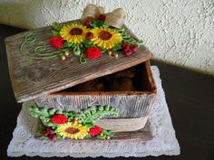 Gingerbread box of sunflowers