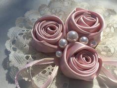 Baby Flower Headband -Lace Headband Rose Trio in Blush Pink Phot Prop Baby Fascinator