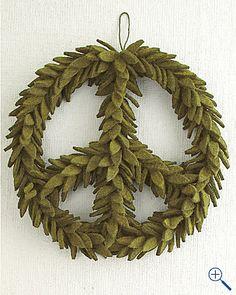 felt wreath Minus the peace sign wreath Felt Diy, Felt Crafts, Diy And Crafts, Wreath Crafts, Wreath Ideas, Christmas Crafts, Christmas Decorations, Christmas Ideas, Christmas Things